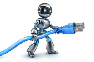Robot and connect computer cable. 3d illustration